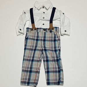 Plaid pants with suspenders & white button top